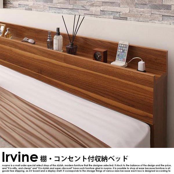 棚・コンセント付き収納ベッド Irvine【アーヴァイン】フレームのみ ダブル の商品写真その2