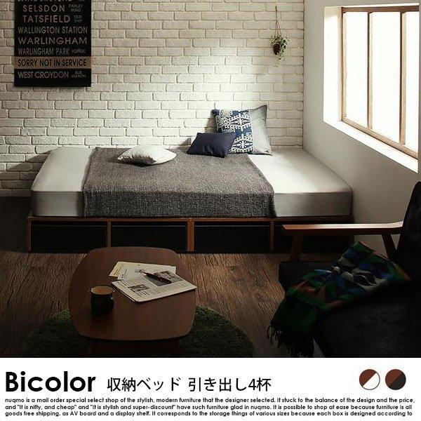 収納ベッド Bicolor【バイカラー】引き出し4杯 スタンダードボンネルコイルマットレス付 シングル の商品写真その5