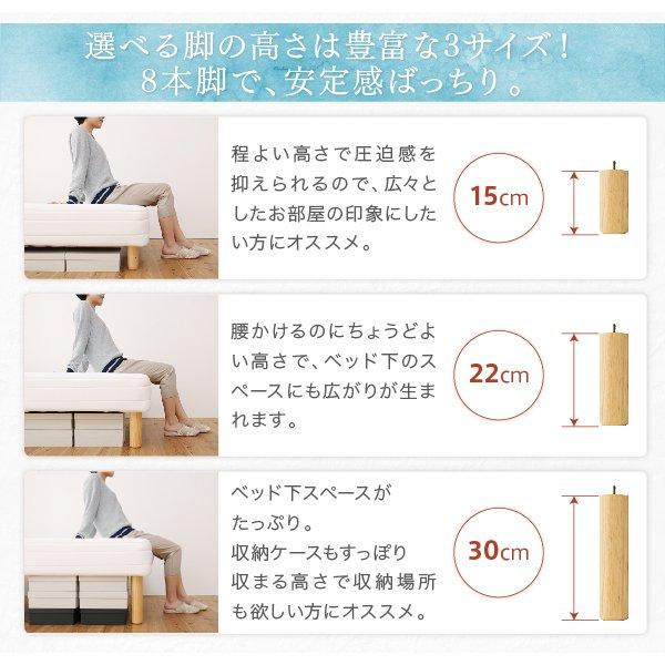 ベーシック脚付きマットレスベッド ボンネルコイルマットレス セミシングル 脚22cm の商品写真その2
