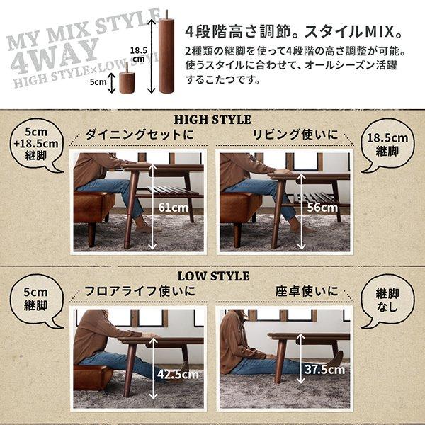こたつテーブル CLICK【クリック】 (W120)【沖縄・離島も送料無料】の商品写真その1