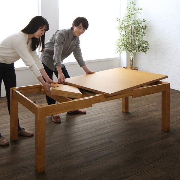 高さが調節できる、伸長式こたつソファダイニングセット Escher【エッシャー】5点セット(テーブル+2Pソファ1脚+1Pソファ1脚+コーナーソファ1脚+ベンチ1脚) W120-180cm の商品写真その6