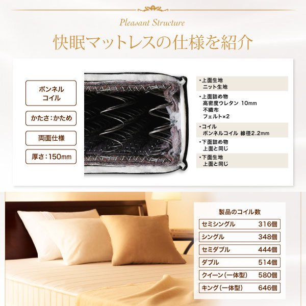 ボンネルコイルマットレス EVA【エヴァ】ホテルスタンダード 硬さ:かため キング の商品写真その3