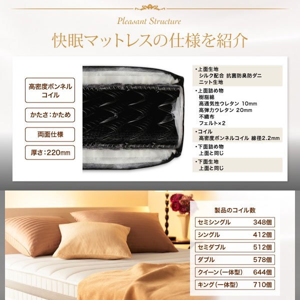 高密度ボンネルコイルマットレス EVA【エヴァ】ホテルプレミアム 硬さ:かため シングル の商品写真その3