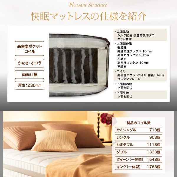 高密度ポケットコイルマットレス EVA【エヴァ】ホテルプレミアム 硬さ:ふつう シングル の商品写真その3
