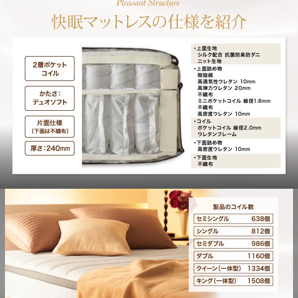 2層ポケットコイルマットレス EVA【エヴァ】ホテルプレミアム 硬さ:デュオソフト シングル の商品写真その4