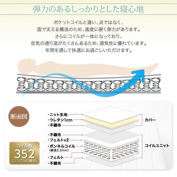 ベーシック脚付きマットレスベッド ボンネルコイルマットレス セミダブル 脚22cm の商品写真その5