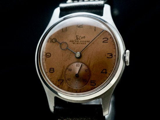 Felco / ART-DECO HANDS, BRONZE DIAL & LARGE CASE 1940'S N.O.S