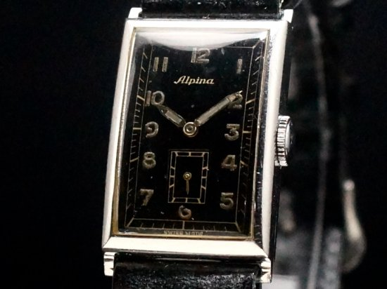 Alpina / BLACK GILT MILITARY DIAL, RECTANGULAR 1930'S