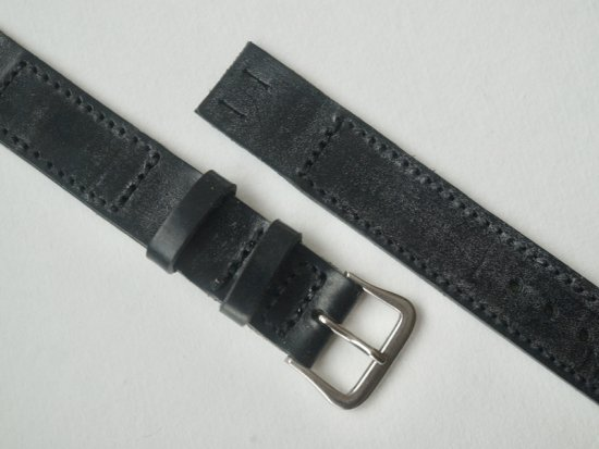 """anonym"" OPEN-END LEATHER BELT (BRIDLE / BLACK)"