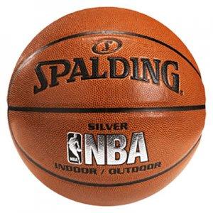 SPALDING(スポルディング) NBA Silver Logo Composite Ball(NBAシルバーロゴ合成皮革ボール) ブラウン/7号