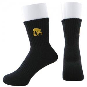 EGOZARU(エゴザル) One Point Logo Socks(ワンポイントロゴソックス/靴下)  黒/ゴールド
