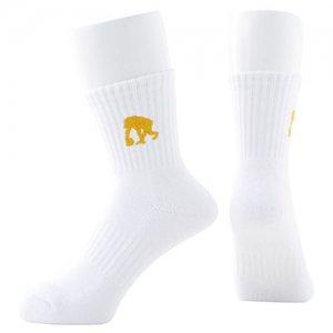 EGOZARU(エゴザル) One Point Logo Socks(ワンポイントロゴソックス/靴下) 白/ゴールド
