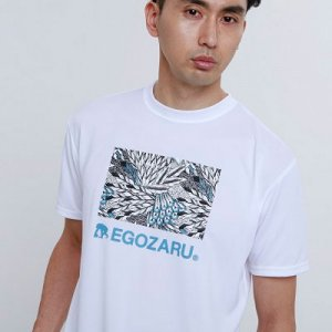 EGOZARU OBLONG FEATHER TEE -WHITE -エゴザル フェザーロゴ