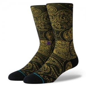 STANCE(スタンス)ANTEM Verdana Crew Socks (アンセム・バンダナクルーソックス/靴下) 黒/金