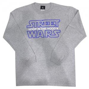 HITH(フープインザフッド/ヒス) Street Wars Longsleeve Tee(ストリートウォーズ・ロングスリーブTシャツ/ロンT) グレー/ブルー