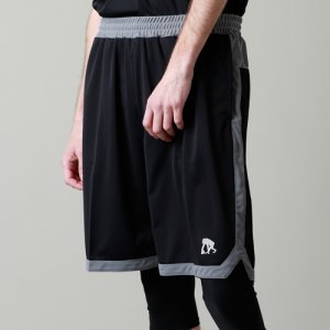 EGZARU(エゴザル) Hem Slit Shorts(ヘムスリットショーツ/バスパン) 黒/グレー