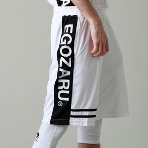 EGZARU(エゴザル) Double Line Shorts(ダブルラインショーツ/バスパン) 白/黒