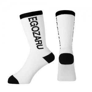 EGOZARU(エゴザル) ROTATE LOGO SOCKS(ローテイトロゴソックス) 白/黒