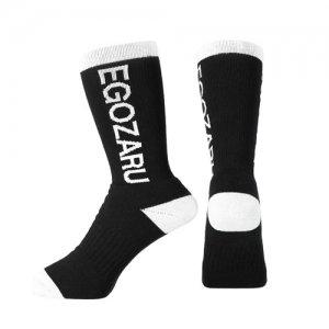 EGOZARU(エゴザル) ROTATE LOGO SOCKS(ローテイトロゴソックス) 黒/白