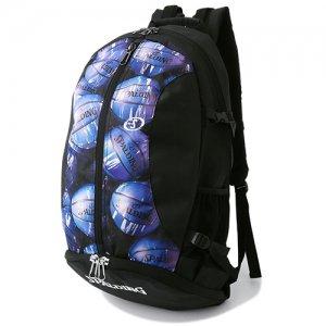 【バスケ用品が1つまとまる!!】SPALDING(スポルディング) Giant Cager Backpack(ジャイアントケイジャーバックパック/リュック) 黒/マーブルブルー
