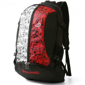 【バスケ用品が1つまとまる!!】SPALDING(スポルディング) Giant Cager Backpack(ジャイアントケイジャーバックパック/リュック) 黒/グラフティレッド