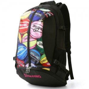 【バスケ用品が1つまとまる!!】SPALDING(スポルディング) Giant Cager Backpack(ジャイアントケイジャーバックパック/リュック) 黒/マルチボール