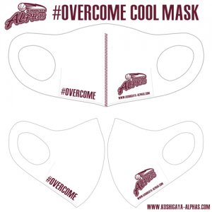 【Alphas Smile Project】ALPHAS(越谷アルファーズ) #OVERCOME Cool Mask(オーバーカムクールマスク) 白/バーガンディ