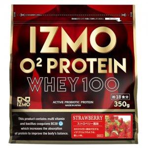 【生きた乳酸菌BC-30配合!日本人のためのプロテイン!!】IZMO(イズモ) O2 Protein Whey100(O2プロテイン・ホーエイ100) 350g(約18食分)/ストロベリー