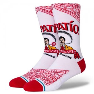 <img class='new_mark_img1' src='//img.shop-pro.jp/img/new/icons14.gif' style='border:none;display:inline;margin:0px;padding:0px;width:auto;' />STANCE(スタンス) Tapatio Crew Socks(タパティオクルーソックス/靴下/ホットソース) 白/赤
