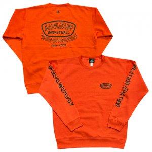 HITH(フープインザフッド/ヒス) RUNGUN FIRE ORANGE Sweat Crew(ランガンファイヤーオレンジスウェットクルー/トレーナー) オレンジ/黒