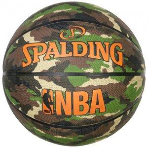 SPALDING(スポルディング) NBA LOGOMAN WOODLAND CAMO RUBBER BALL(NBAロゴマンウッドランドカモラバーボール/アウトドアボール) カモ柄/7号