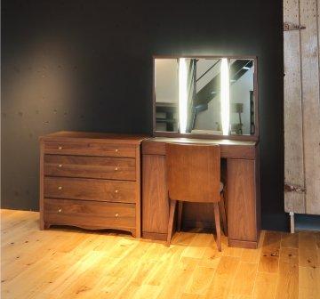 ラルゴ女優ミラー + タピオチェスト(ウォールナット)半三面鏡LEDドレッサー椅子付き【セット割】