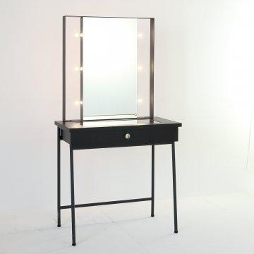 ガラストップ スタジオ女優ミラー(ブラック)美容サロンセット台ライト付きドレッサー