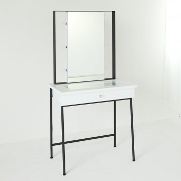 ガラストップ スタジオ女優ミラー(ホワイト)美容サロンセット台ライト付きドレッサー