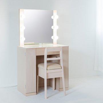 クリスタル女優ミラー(ミルキーホワイト)一面鏡ハリウッドミラー LEDドレッサー椅子付き