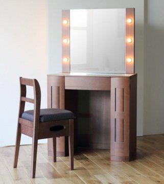 【受注生産】クリスタルGland女優ミラー(ウォールナット)一面鏡ハリウッドミラー LEDドレッサー椅子付き