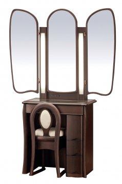 キュアベル女優ミラー(4色)半三面鏡LEDドレッサー椅子付き