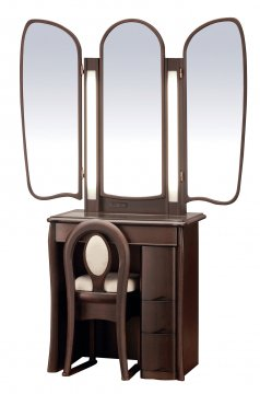 キュアベル女優ミラー(ウェンジ)半三面鏡LEDドレッサー椅子付き