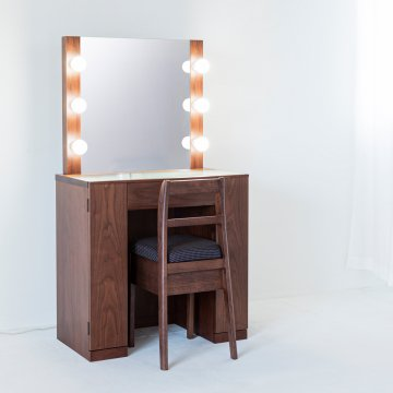 クリスタル女優ミラー(ウォールナット)一面鏡ハリウッドミラー LEDドレッサー椅子付き