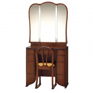 ミランダ女優ミラー(アンティークブラウン)半三面鏡LEDドレッサー椅子付き
