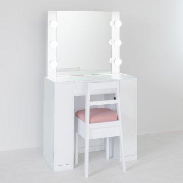 クリスタル女優ミラー(パールホワイト)一面鏡ハリウッドミラー LEDドレッサー椅子付き