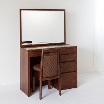 アダージョ(ウォールナット)一面鏡ワイドミラーホテルドレッサー椅子付き