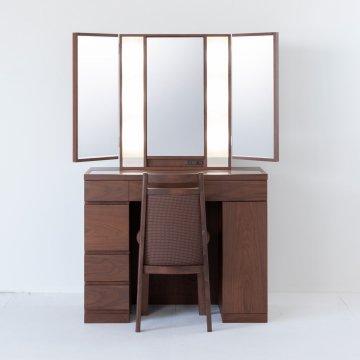 プリマ女優ミラー(ウォールナット)半三面鏡ハリウッドミラー LEDドレッサー椅子付き