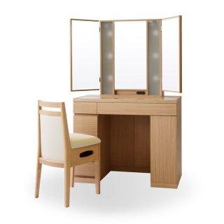 プリマ女優ミラー(ナチュラル)半三面鏡ハリウッドミラー LEDドレッサー椅子付き