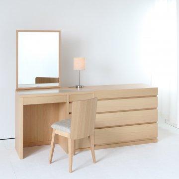 リッツ + チェスト90(4色)一面鏡ホテルドレッサー椅子・スタンドライト付き【セット割】