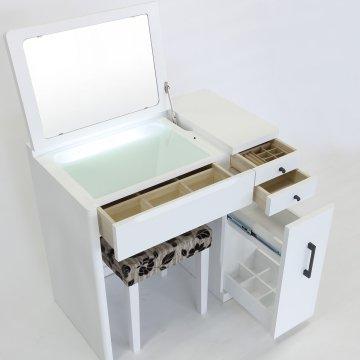 デスクドレッサーじょゆどれSugao女優ミラー(ホワイト)一面鏡LEDドレッサー椅子付き