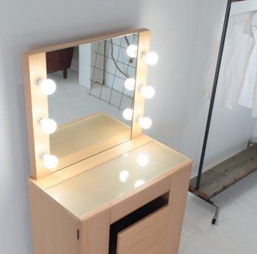 クリスタル女優ミラー(ナチュラル)一面鏡ハリウッドミラー LEDドレッサー椅子付き