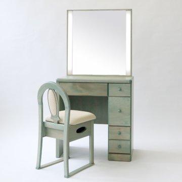 【完売】muji無印良品のアクリルケースが使える/レーヴ女優ミラー(ブラウン)一面鏡LEDドレッサー椅子付き