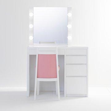 リッツ女優ミラー(パールホワイト)一面鏡ハリウッドミラー LEDドレッサー椅子付き