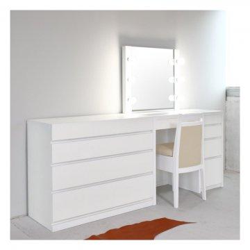 リッツ女優ミラー + チェスト90(パールホワイト)一面鏡ハリウッドミラー LEDドレッサー椅子付き【セット割】